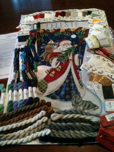 Celeste's Stocking with threads