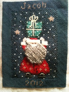 Jacob's 2012 Christmas ornament.  Designed by Lee.  Stitched by me.